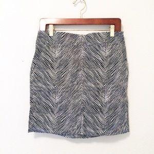Ann Taylor zebra Madison pencil skirt black white